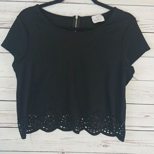 Anthropologie Medium Scalloped Cut Out Crop Top
